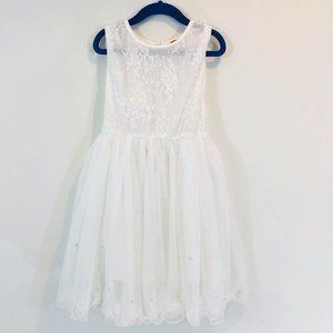 Funkyberry Girls SZ 4T White Dress Lace Floral